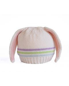 Hand Knit Striped Bunny Ears Hat for Babies - Available in 3 Sizes
