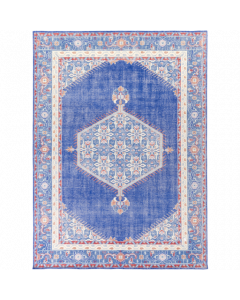 Hand Knotted Zahra Wool Rug in Dark Blue and Red