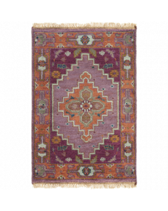Hand Knotted Zeus Wool Rug in Eggplant and Rust