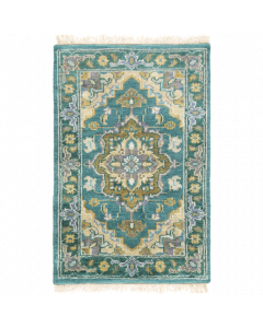 Hand Knotted Zeus Wool Rug in Emerald