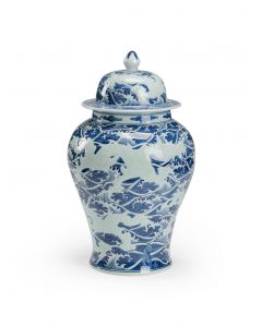 Hand Painted Abstract Waves Blue and White Ceramic Ginger Jar