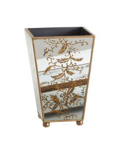 Hand Painted Antique Mirror and Gold Wastebasket