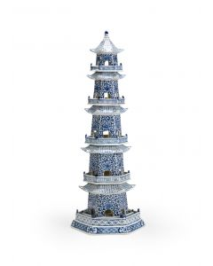 Hand Painted Blue and White Ceramic Canton Pagoda  - ON BACKORDER UNTIL APRIL 2021