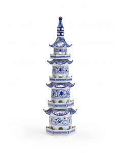 Hand Painted Blue and White Ceramic Decorative Pagoda - LOW STOCK