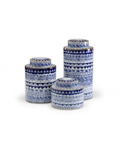 Hand Painted Blue And White Porcelain Canisters, Set of 3