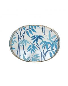 Hand Painted Fontaine in Blue Oval Tole Tray
