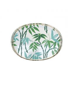 Hand Painted Fontaine in Green Oval Tole Tray