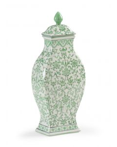 Hand Painted Green and White Floral Porcelain Lidded Jar