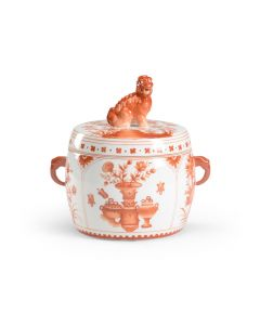 Hand Painted Orange and White Covered Porcelain Jar - ON BACKORDER UNTIL MAY 2021