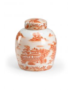 Hand Painted Red on White Chinoiserie Covered Ceramic Jar - LOW STOCK