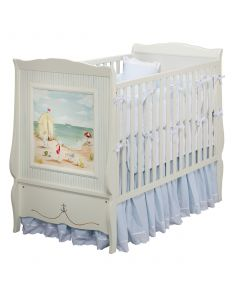 Hand Painted Seashore Crib in Antico White