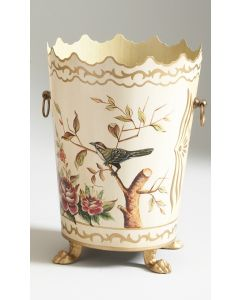 Hand Painted Tole Birds and Flowers Wastebasket - ON BACKORDER UNTIL JANUARY 2021