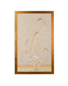 Blush Hand Painted Watercolor On Silk Chinoiserie Bird Panel Wall Art