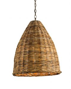 Hand Woven Dome Shaped Rattan Basket Pendant - LOW STOCK