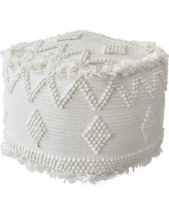 Hand Woven Wool and Cotton Bohemian Pouf
