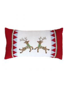 Handmade Flying Reindeer Holiday Lumbar Pillow in Red & Ecru