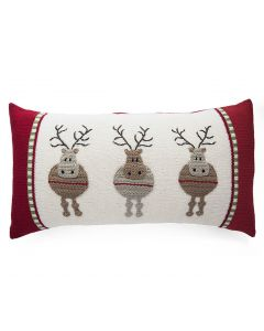 Handmade Round Reindeer Applique Holiday Lumbar Pillow