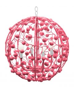 Handmade Whimsical Round Floral Sphere Chandelier - Variety of Colors Available