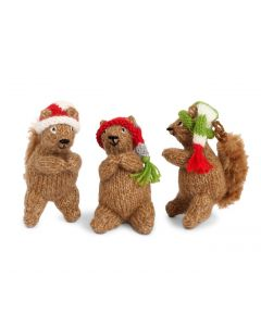 Handmade Woodland Squirrel Christmas Ornaments (Set of 6)