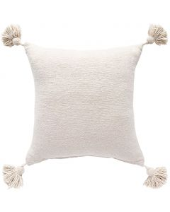 Handwoven Boho Chic Pom Pom Pillow in Cream