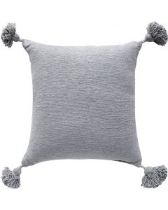 Handwoven Boho Chic Pom Pom Pillow in Grey