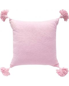 Handwoven Boho Chic Pom Pom Pillow in Pink