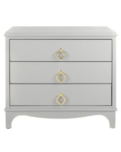 Grey Contemporary 3 Drawer Nightstand With Brass Quatrefoil Pulls