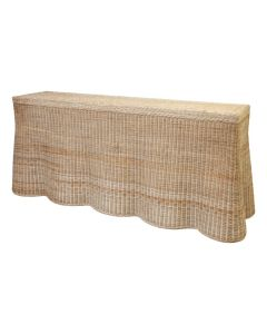 """Harvested Rattan Scalloped 84"""" Console Buffet Table - Available in a Variety of Colors"""