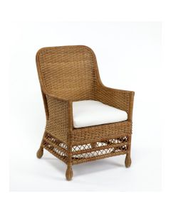 Harvested Rattan Wicker Dining Arm Chair with Cushion - Available in a Variety of Colors and Fabrics