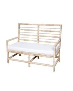 Harvested Rattan Wicker Nautical Inspired Bench with Cushion - Available in a Variety of Colors and Fabrics