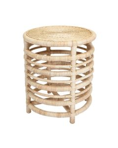 Harvested Rattan Wicker Nautical Inspired Round Side Table - Available in a Variety of Colors