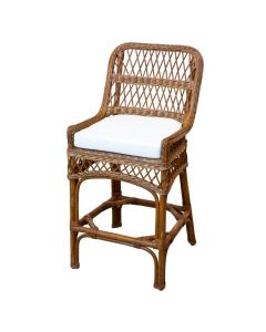 Harvested Rattan Wicker Open Weave Counter Stool with Cushion - Available in a Variety of Colors and Fabrics