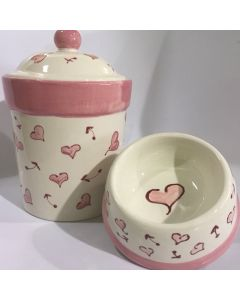 Hand Painted Pink Heart Dog Bowl - Can be Personalized