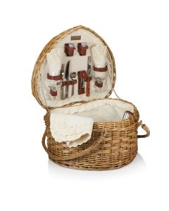 Romantic Retreat Heart Shaped Picnic Basket Set For 2 With Antique White Lining - OUT OF STOCK