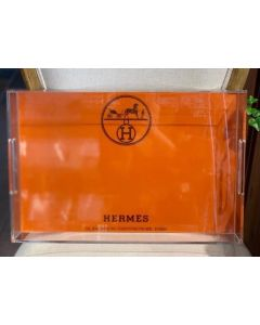 Hermes Inspired Decorative Lucite Rectangular Serving Tray
