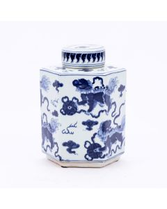 Blue and White Lion Hexagonal Tea Jar