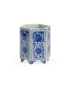 Hexagonal Blue and White Floral Ceramic Cachepot