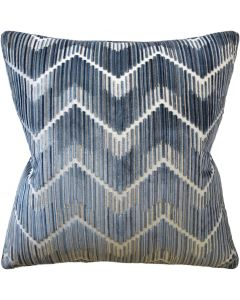Zig Zag Anniston Steel Blue Chevron Decorative Square Throw Pillow - Available in Two Sizes