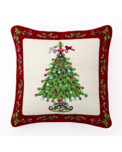 Holly Garden Christmas Tree Needlepoint Pillow - ON BACKORDER UNTIL AUGUST 2021