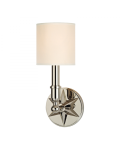 Hudson Valley Lighting Bethesda One Light Wall Sconce with Star Accent Backplate  Available in Three Finishes