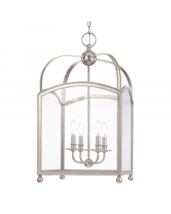 Hudson Valley Lighting Large Four Light Candelabra Glass Frame Pendant  Available in Four Finishes