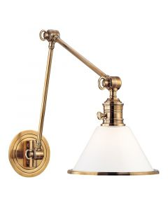 Hudson Valley Lighting Garden City Task Wall Sconce With Adjustable Extension Arm and Shade - Available in Brass, Nickel, Bronze