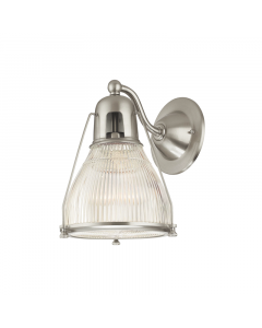 Hudson Valley Lighting Haverhill Industrial Wall Sconce with Fresnel Lens Glass Diffuser  Available in Four Finishes