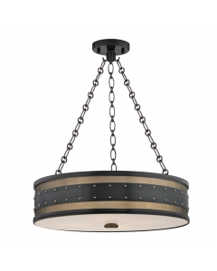 Hudson Valley Lighting Large Gaines Four Light Hanging Pendant with Studded Rivets  Available in Four Finishes