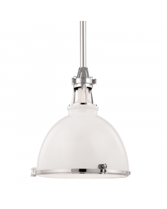 Hudson Valley Lighting Massena White with Polished Nickel Hanging Industrial Ceiling Pendant