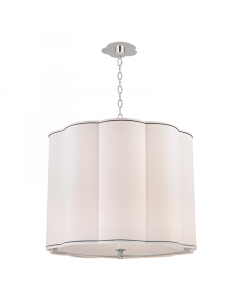 Hudson Valley Lighting Large Sweeny Five Light Hanging Navy Pinstripe Scalloped Pendant - Available in 2 Finishes