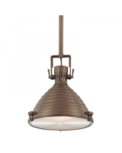 Hudson Valley Lighting Naugatuck Medium One Light Rippled Ceiling Pendant in Historic Bronze - FINAL STOCK, CALL TO CONFIRM AVAILABILITY