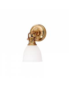 Hudson Valley Lighting Pelham One Light Industrial Wall Sconce with Adjustable Dome Glass Shade  Available in Four Finishes