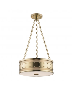 Hudson Valley Lighting Small Gaines Three Light Hanging Pendant with Studded Rivets  Available in Four Finishes