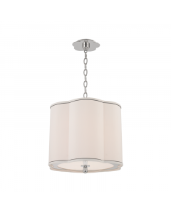 Hudson Valley Lighting Small Sweeny Three Light Hanging Navy Pinstripe Scalloped Pendant - Available in 2 Finishes